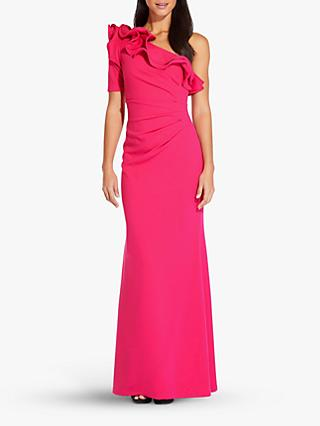 Adrianna Papell Long Draped Crepe Dress, Geranium
