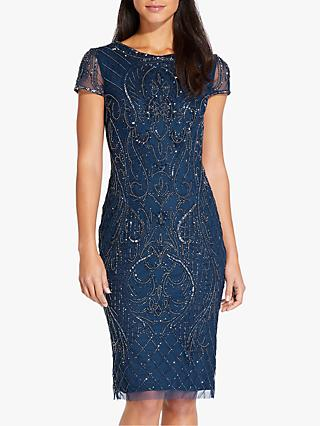 Adrianna Papell Short Beaded Dress, Deep Blue