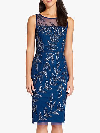Adrianna Papell Beaded Leaf Dress, Night Blue