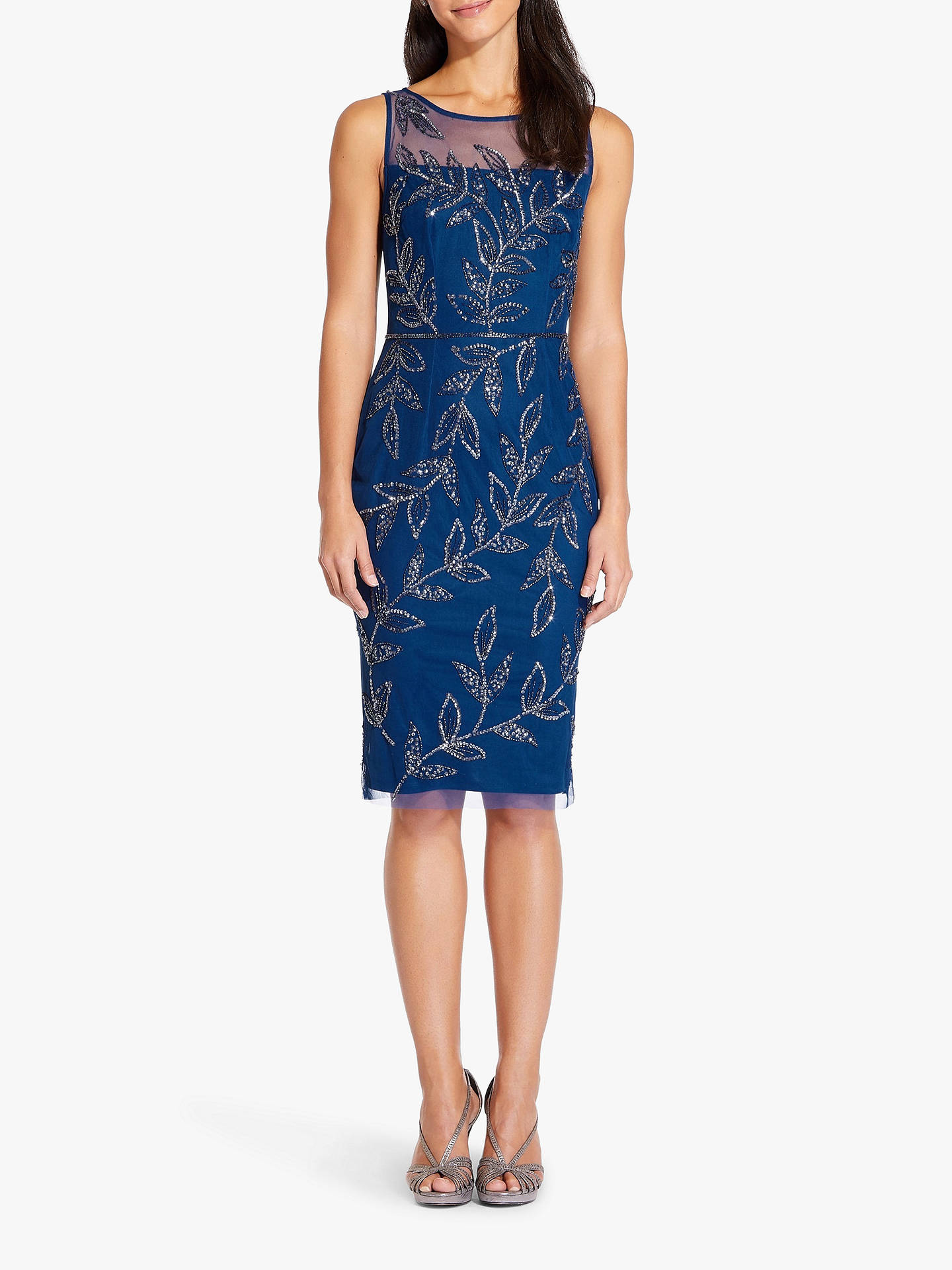 888dd8d2 ... Buy Adrianna Papell Beaded Leaf Dress, Night Blue, 6 Online at  johnlewis.com ...