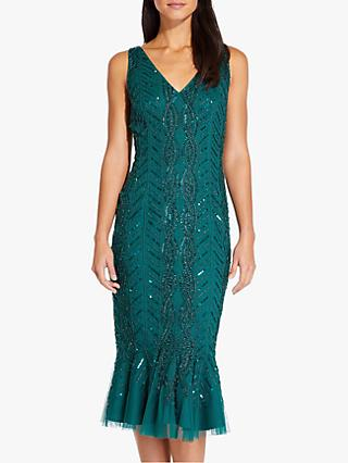 Adrianna Papell Beaded Sequin Midi Dress, Dark Green