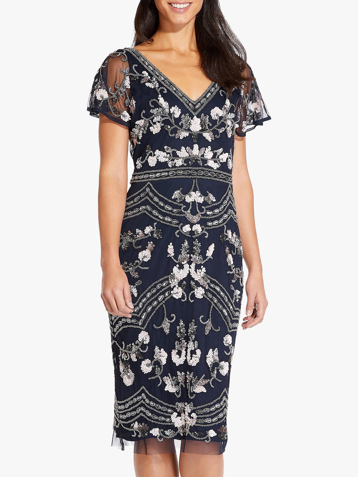 Adrianna Papell Beaded Flutter Sleeve Dress, Midnight