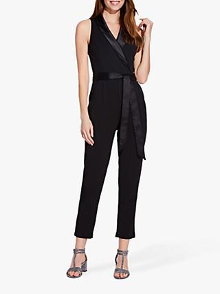 Adrianna Papell Knit Crepe Tuxedo Jumpsuit, Black