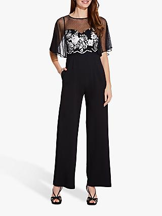 Adrianna Papell Floral Embroidered Jumpsuit, Black/Ivory