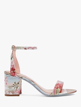 Ted Baker Rozie Floral Block Heel Sandals, Light Blue