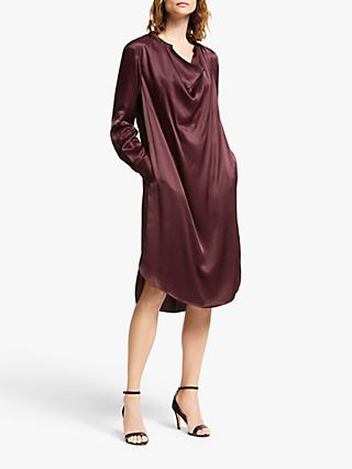 Modern Rarity Cowl Neck Satin Dress, Red