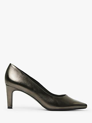 Peter Kaiser Ressa Prata Mid Heel Leather Court Shoes, Pewter