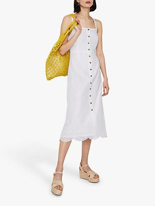 Warehouse Broderie Cotton Midi Dress, White