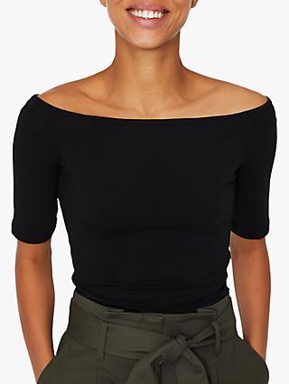 Warehouse Bardot Top, Black