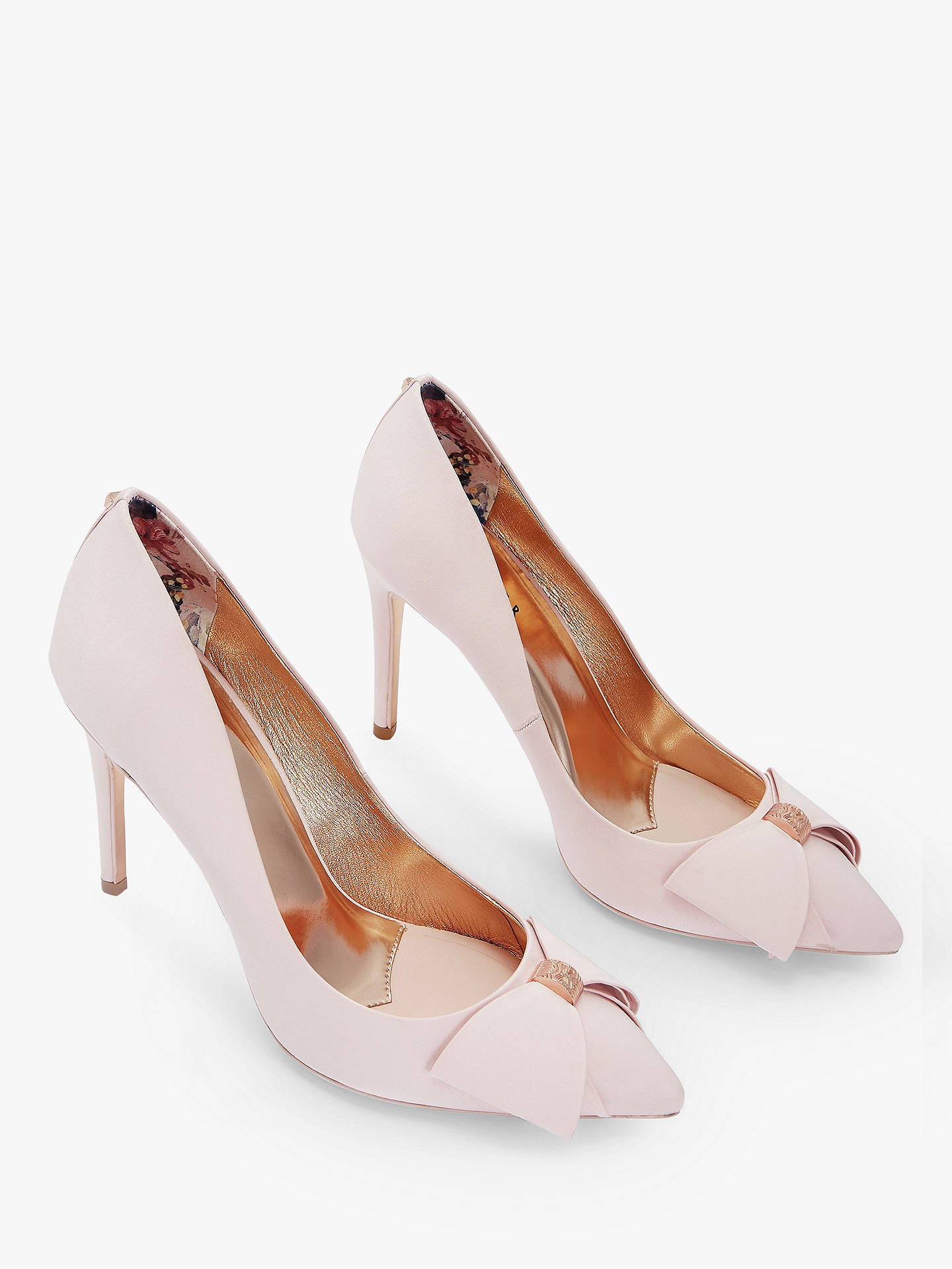 Buy Ted Baker Asellys Stiletto Heel Bow Court Shoes, Light Pink, 2 Online at johnlewis.com
