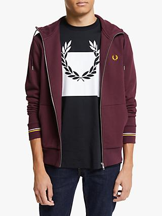 Fred Perry Zip Through Hooded Sweatshirt, Mahogany