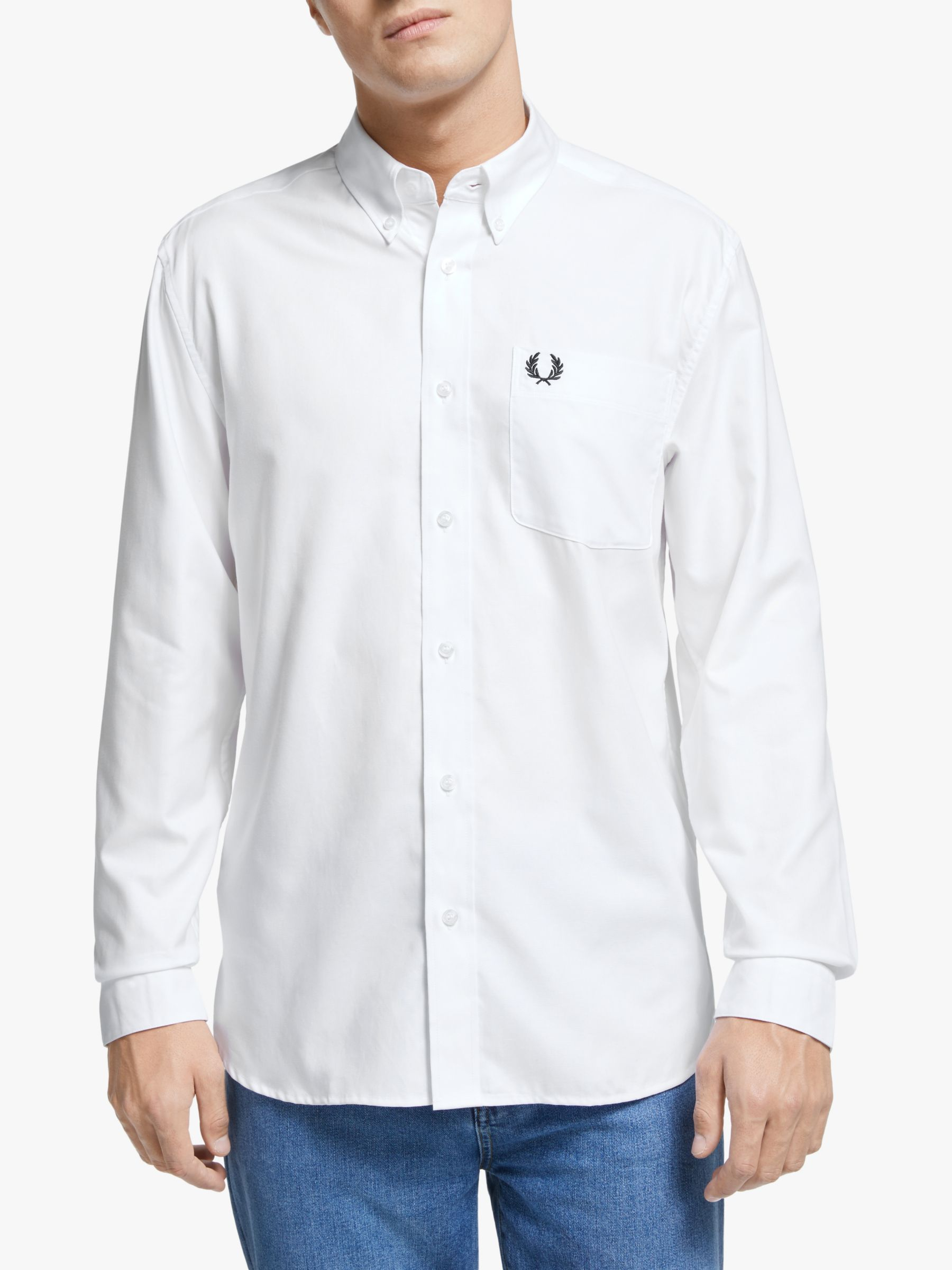 Fred Perry Fred Perry Long Sleeve Oxford Shirt, White