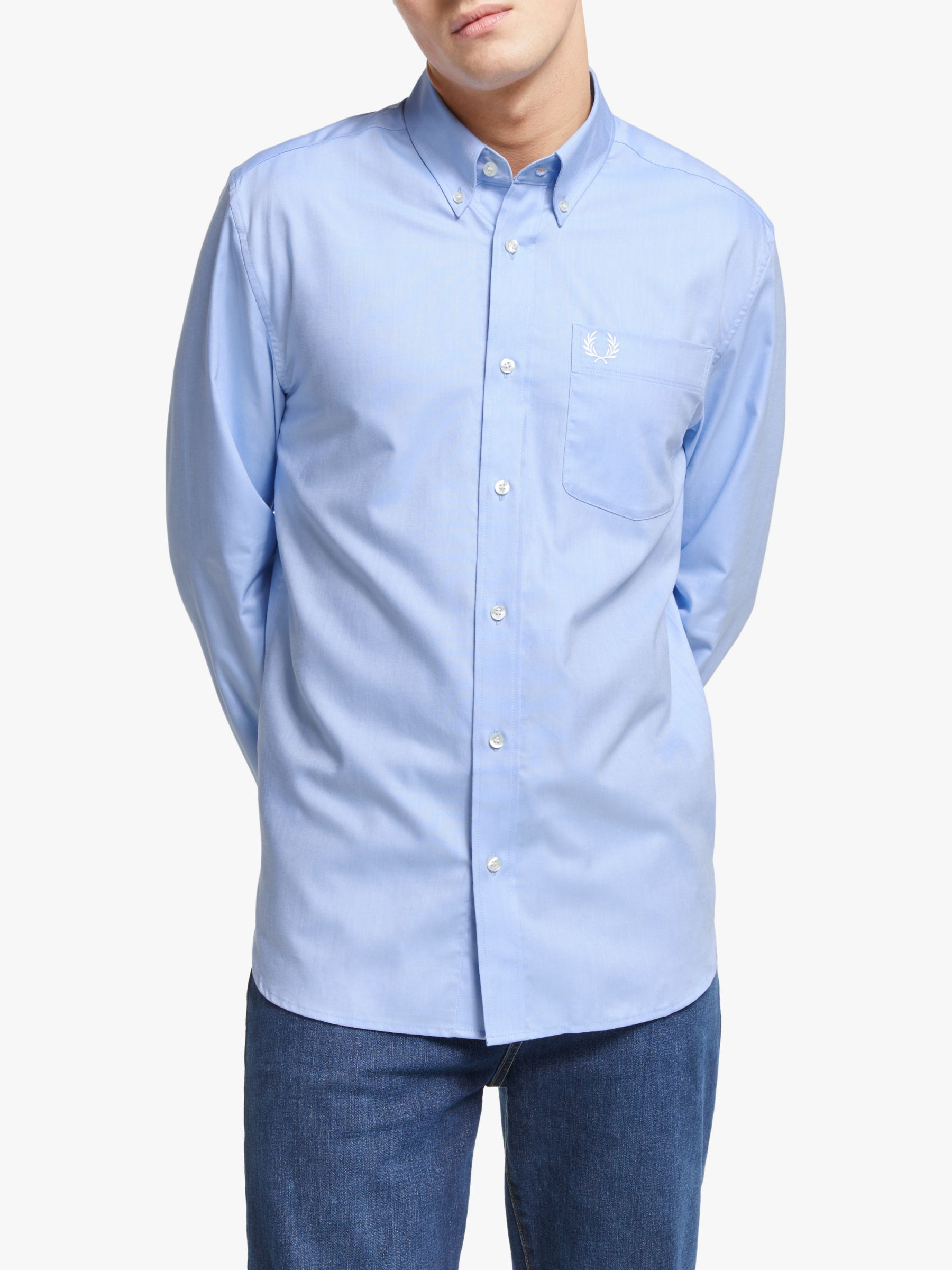 Fred Perry Fred Perry Classic Oxford Long Sleeve Shirt, Light Smoke