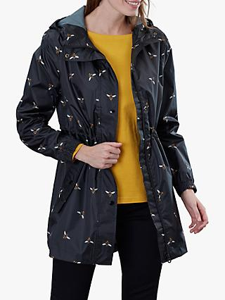 Joules Golightly Pack-Away Waterproof Bee Print Parka Coat, Black Bee