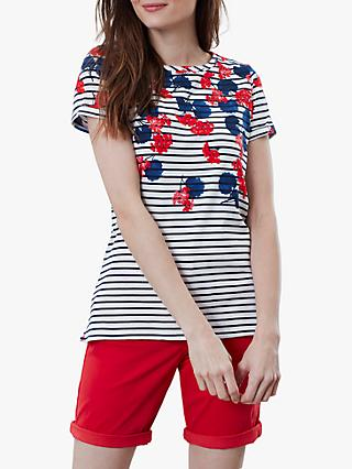 3116c0262a Joules Nessa Stripe and Floral Print Jersey T-Shirt, Blue. Quick view
