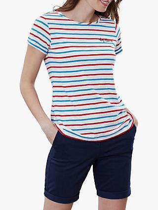 Joules Nessa Stripe Embroidery T-Shirt, Blue/Red