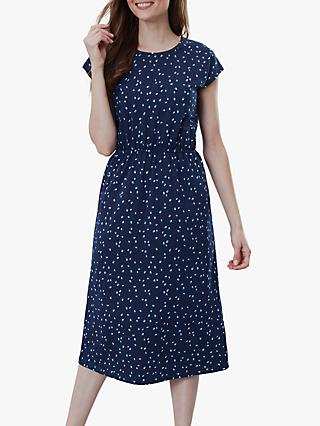 Joules Alma Print Jersey Cotton Dress, Blue Lilypads
