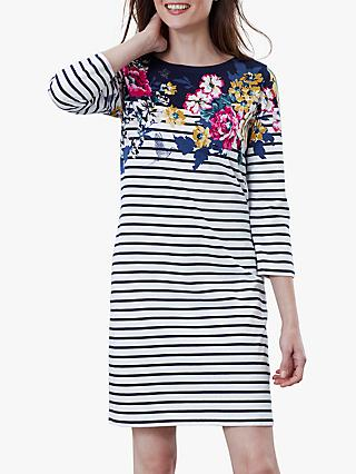 Joules Floral Print 3/4 Sleeve Jersey Dress, Navy/Multi