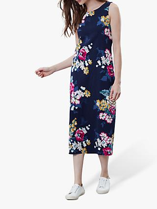 Joules Riva Midi Sleeveless Jersey Dress, Blue/Multi
