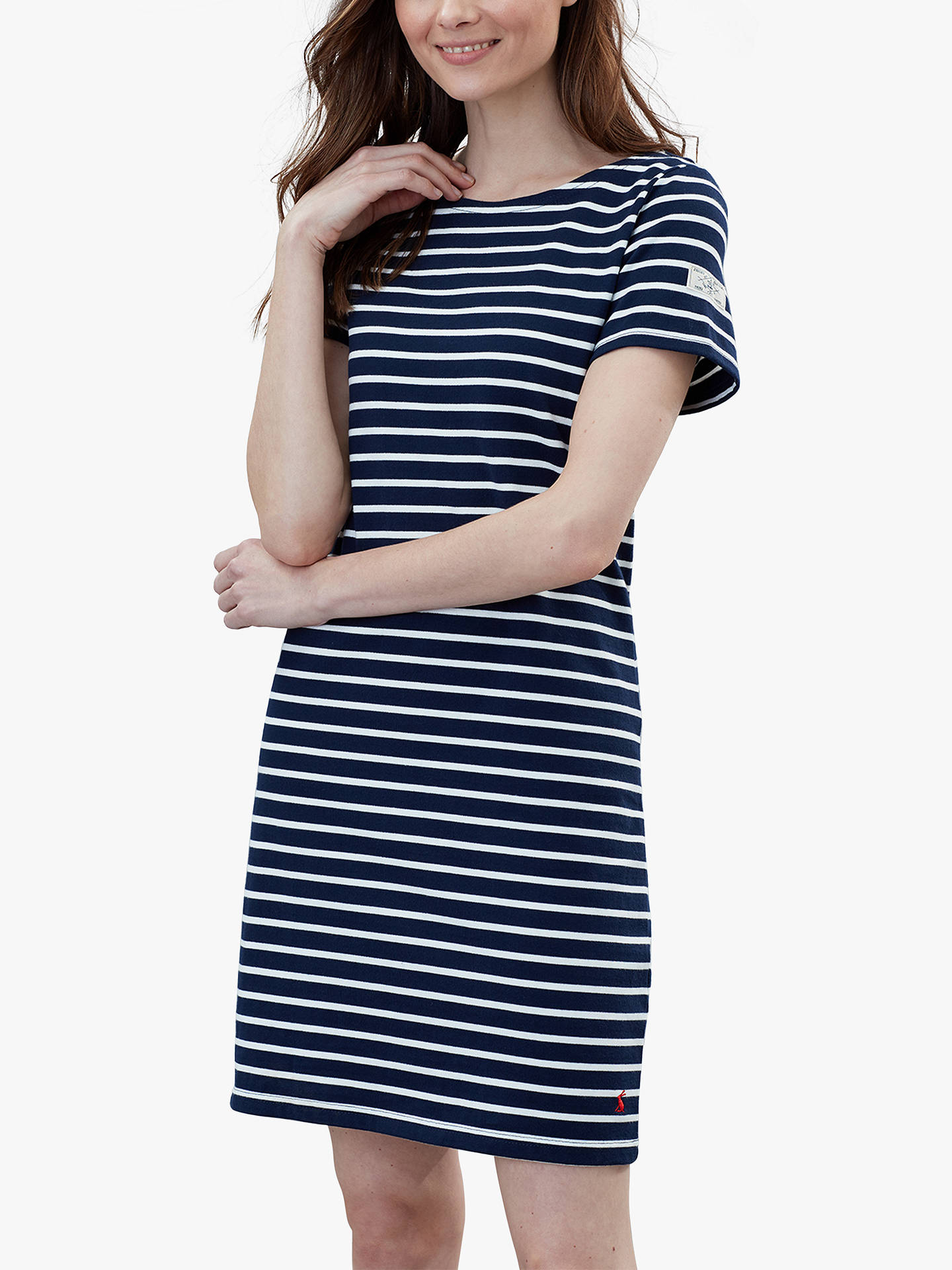 268c7bcb549 Buy Joules Riviera Short Sleeve Jersey Dress, Navy/Cream, 6 Online at  johnlewis ...