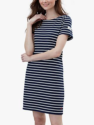 Joules Riviera Short Sleeve Jersey Dress, Navy/Cream