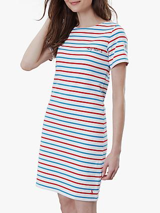 Joules Riviera Short Sleeve Jersey Dress, Red/Blue