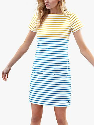 Joules Francis Square Neck Stripe Cotton Dress, Gold/Blue