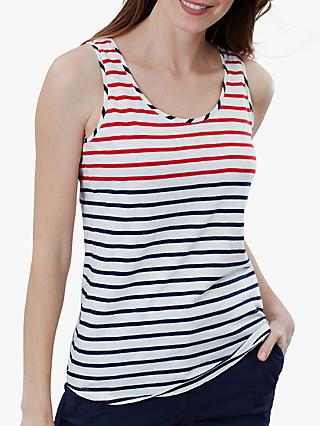 Joules Bo Striped Jersey Vest, Red/Blue