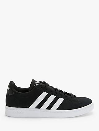 adidas Grand Court Men's Suede Trainers, Core Black/FTWR White