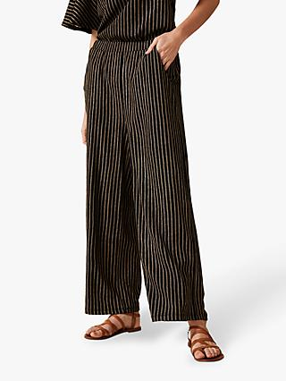 Phase Eight Adia Stripe Trousers, Black