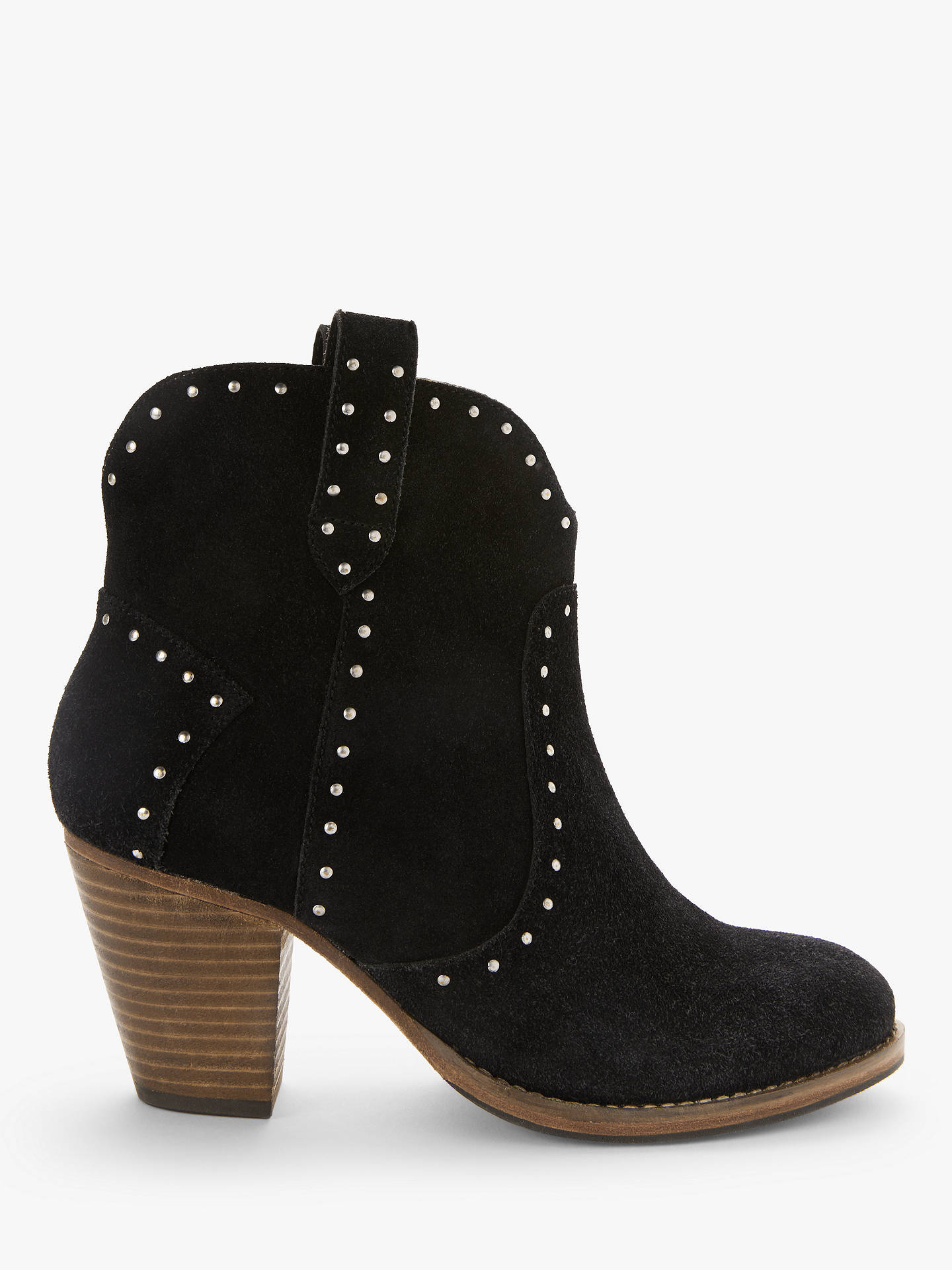 Buy AND/OR Quinci Suede Studded Western Ankle Boots, Black, 6 Online at johnlewis.com