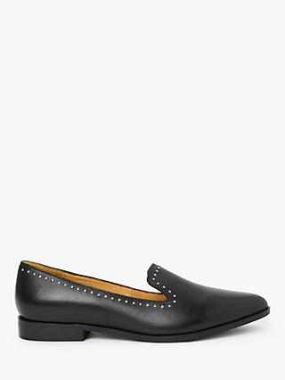 AND/OR Geri Studded Leather Loafers, Black