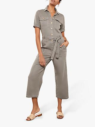 Mint Velvet Button Down Boilersuit, Dark Green