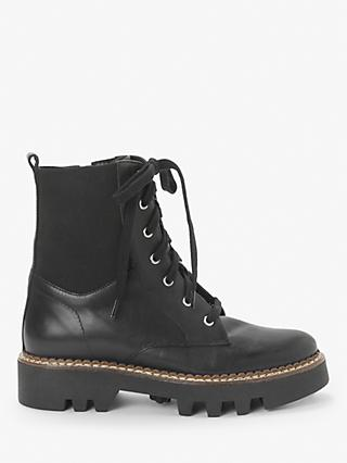Kin Pine Leather Lace Up Chunky Boots, Black