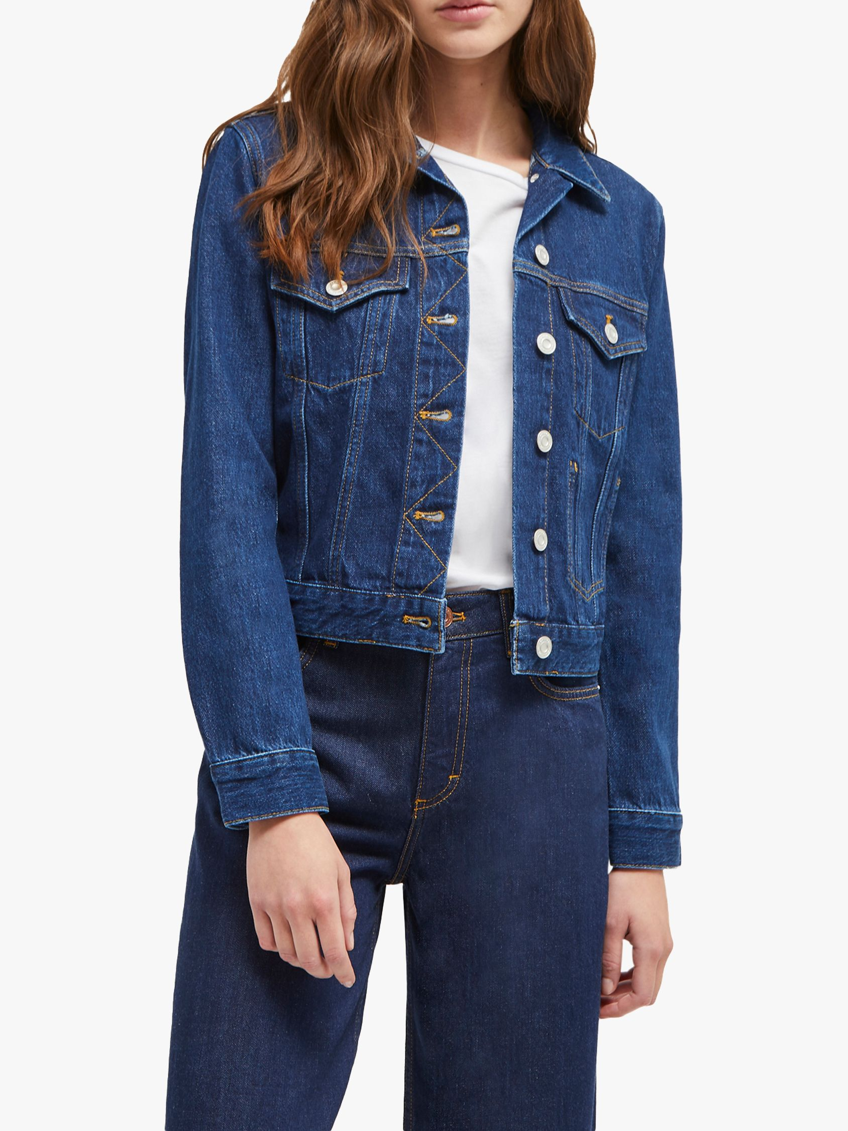 French Connection French Connection Macee Micro Western Denim Jacket, Mid Blue