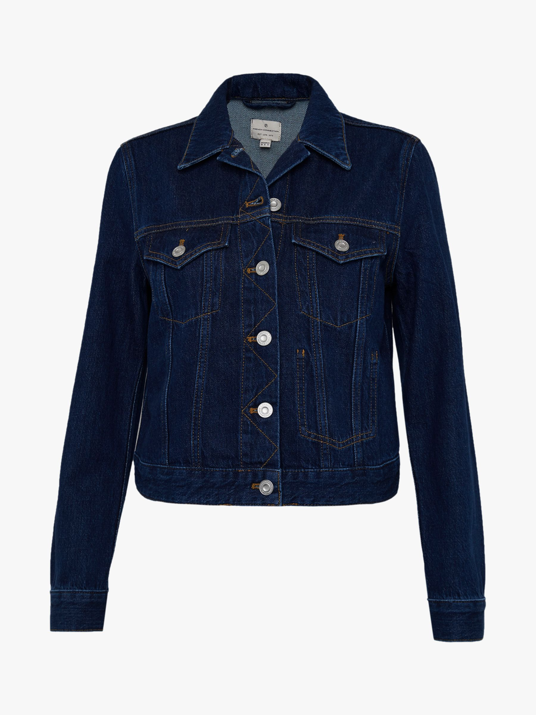 French Connection Macee Micro Western Denim Jacket, Mid Blue