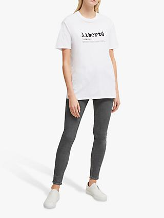 French Connection Liberte Cotton T-Shirt, Linen White