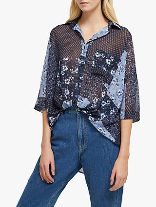 French Patchwork Floral Front Shirt, Blue/Multi