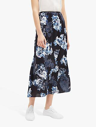 French Connection Caterina Crepe Skirt, Utility Blue/Multi
