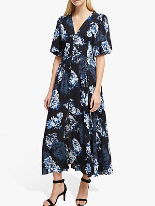 French Connection Caterina Button Down Dress, Utility Blue/Multi
