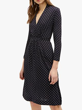 French Connection Polka Dot V-Neck Dress, Blue/White