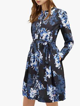 French Connection Caterina Crepe Shirt Dress, Utility Blue/Multi