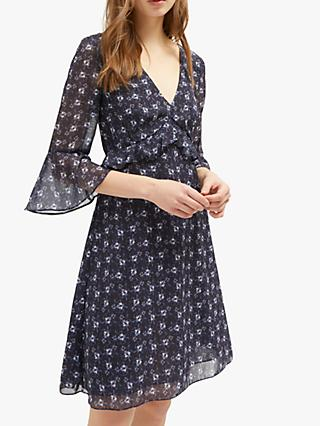 French Connection Agata Floral Dress, Utility Blue
