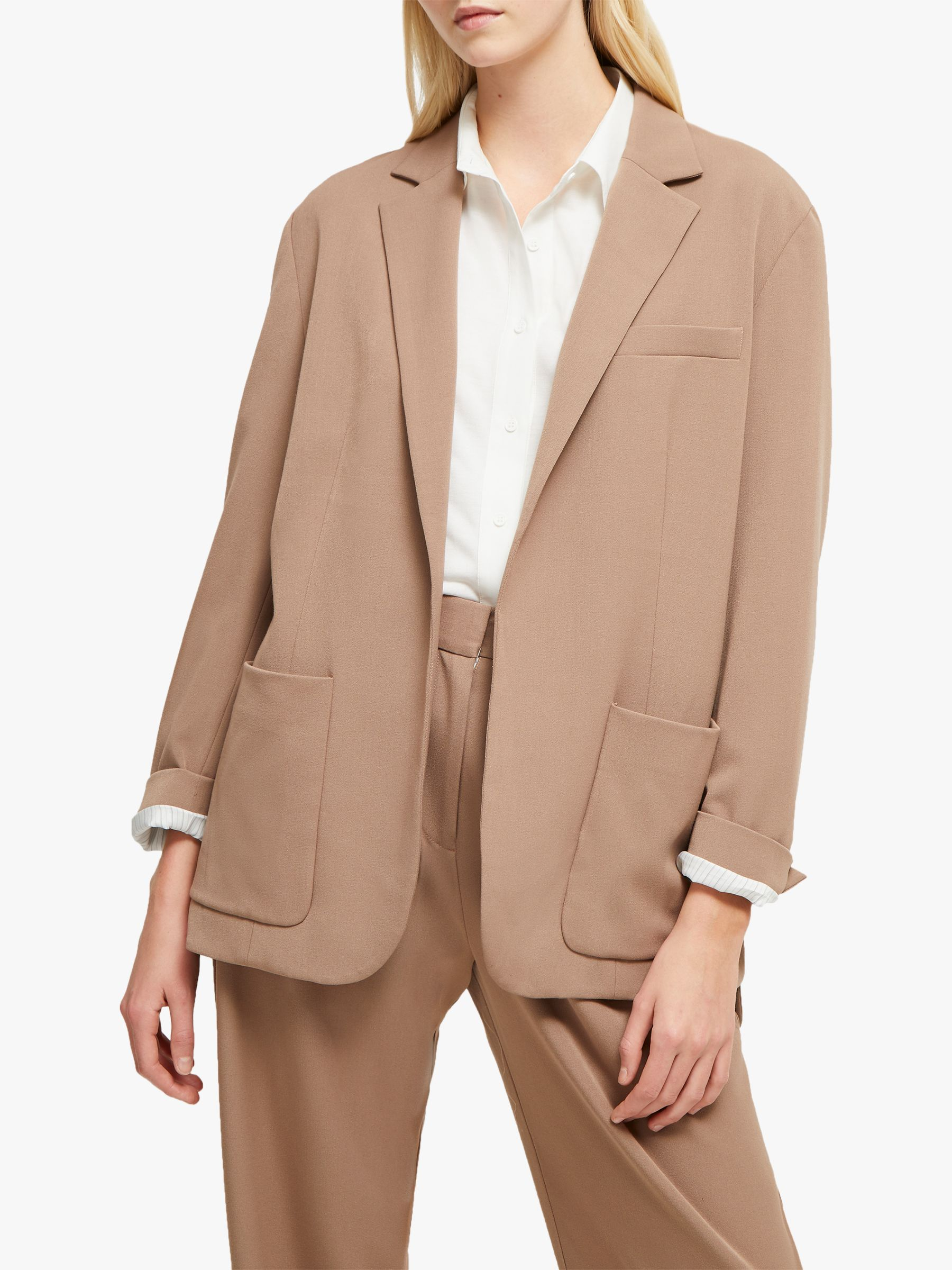 French Connection French Connection Amato Suiting Longline Blazer, Mocha Mousse