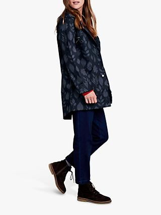 Seasalt RAIN® Collection Bowsprit Floral Print Waterproof Jacket, Pressed Leaves Dark Night