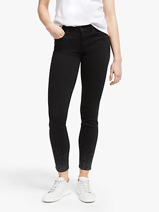7 For All Mankind The Skinny Slim Fame Crystal Crop Jeans, Black