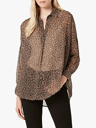 4471d0afe84a French Connection Brunella Crinkle Pop Over Shirt, Neutral/Multi