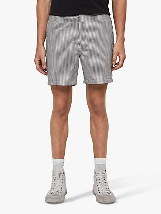 AllSaints Seersucker Shorts, Ink Navy/White