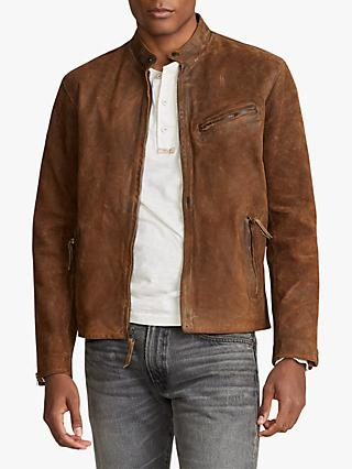 Polo Ralph Lauren Suede Cafe Racer Jacket, Cooper Brown