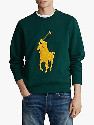 Polo Ralph Lauren Crew Neck Jersey Sweat Top, College Green